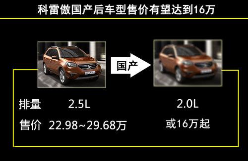 雷诺科雷傲2.0L将国产 预计售价16万元起