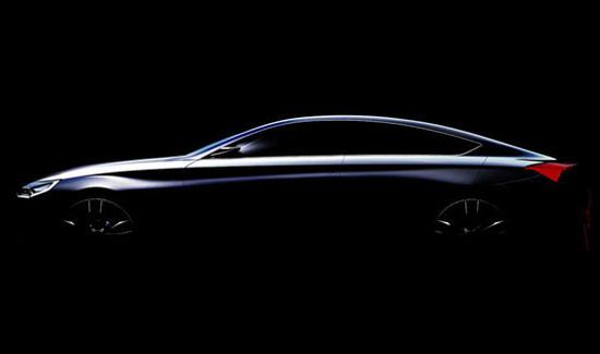 现代HCD-14概念车   这款车定位于四门轿跑车,灵感来自奔驰CLS、宝马6系GranCoupe和奥迪A7这些对手,整车风格优雅而动感,长车头短屁股的身材比例,尤其是后风挡向后延生到独特的尾灯。车侧的这张海报,让人感觉有奥迪A7和英菲尼迪某款概念车的影子。   编辑点评:韩国车近两年的发展还是很猛的,而其中设计的因素很多,统一集团下的起亚近日还任命了设计师彼得·希瑞尔为副总裁。与强大的德系、日系对手相比,有出色的设计是第一步,技术、性能以及价格方面也都期待突破。